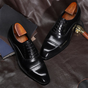 Men's Genuine Leather Pointed Toe Cross Lace-Up Formal Shoe