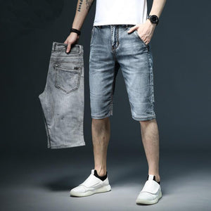 Men's Low Waist Plain Button Zipper Pocket Denim Slim Shorts