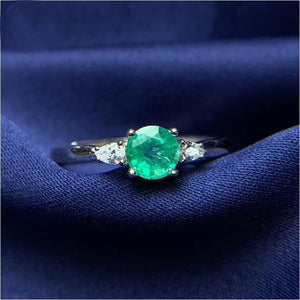 Women's 100% 925 Sterling Silver Round Green Emerald Stud Ring