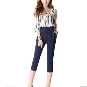 Women's High Elastic Waist Plain Pocket Calf-Length Formal Pants