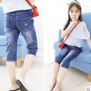 Kid's Low Elastic Waist Embroidery Pocket Denim Slim Jeans