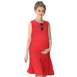 Women's Round Neck Sleeveless Loose Knee-Length Maternity Dress