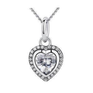 Women's 100% 925 Sterling Silver Love Heart Cubic Zircon Necklaces