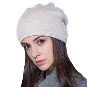 Women's Solid Plush Stretchy Polka Dot Printed Knitted Beanies Hats