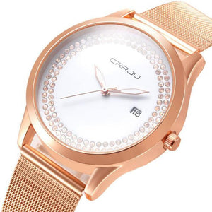 Women's Round Full Stainless Steel Striped With Zircon Pattern Watch