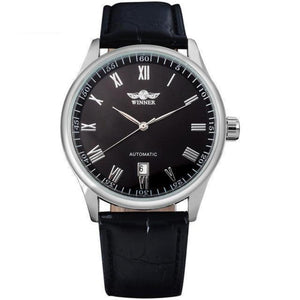 Men's Genuine Leather Strap Automatic Self Wind Alloy Buckle Watch