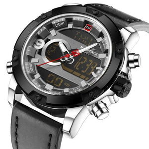 Men's Round Genuine Leather Military Hours and Date Analog Digital Outdoor Watch