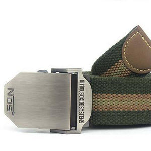 Men's Striped Canvas Military Tactical Alloy Buckle Belts