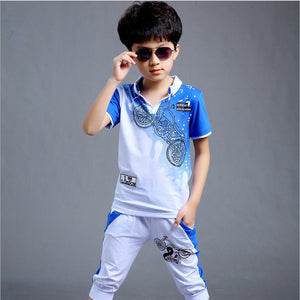 Kid's Turn-down Collar Short Sleeve Printed T-Shirt With Pocket Pant