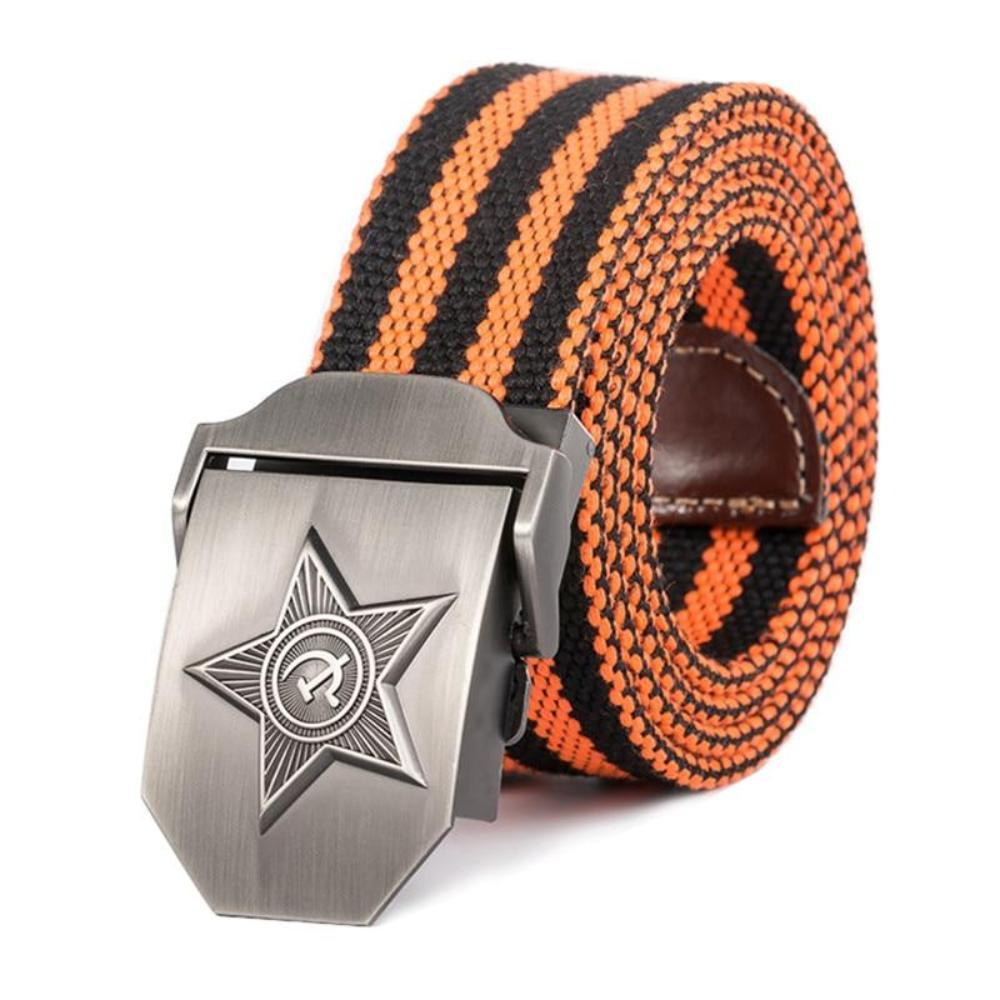 Men's Plush Linen Pattern Alloy Buckle Military Tactical Belts
