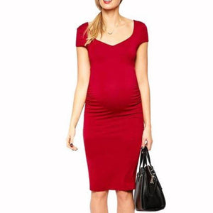 Women's V-Neck Short Sleeve Stretchy Knee-Length Maternity Dress