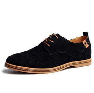 Men's Solid Pointed Toe Suede Oxfords Leather Lace-Up Flat Formal and Outdoor Shoes