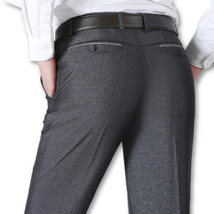 Men's Low Waist Flat Zipper Closure With Pocket Formal Pants