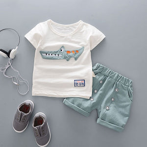 Kid's Round Neck Cartoon Print T-Shirt With Pocket Short Set