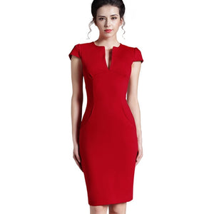 Women's V-Neck Short Sleeve Plain Back Zipper Bodycon Dress