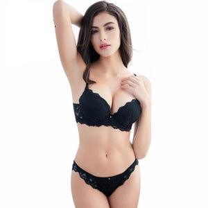 Women's Deep V-Neck Lace Bra With Low Waist Panties Lingerie Outfits