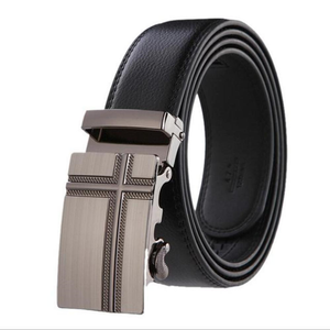 Men's Genuine Leather Strap Square Automatic Alloy Buckle Belts
