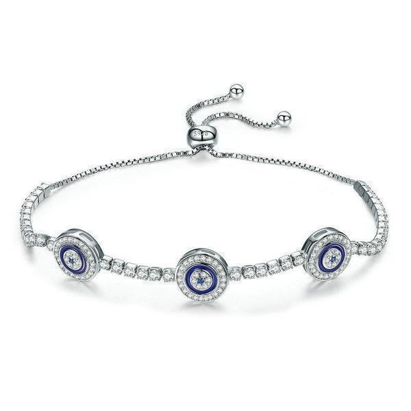 Women's 100% 925 Sterling Silver Round Blue Eyes Cubic Crystal Zircon Tennis Bracelet