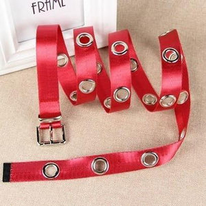 Women's Thin Leather Alloy Round Hole Pattern Pin Buckle Belts