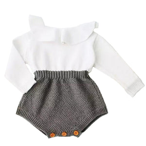 Baby Girl's O-Neck Long Sleeve Plain Button Pattern Romper Outfits