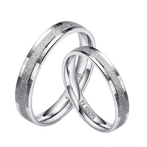 Men's 100% 925 Sterling Silver Round Pattern Wedding Couple Ring