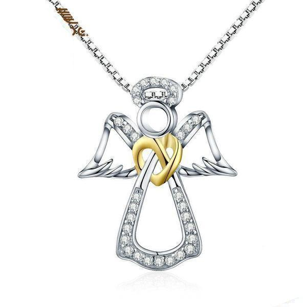 Women's 100% 925 Sterling Silver Angel Heart Pendant Necklaces