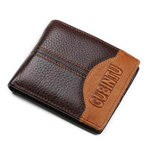 Men's Solid Leather Striped Printed Bifold Multi Holder Wallets