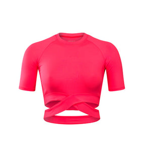 Women's Round Neck Short Sleeve Plain Quick Dry Workout Crop Top