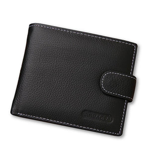 Men's Soft Genuine Leather Pattern Card Holder Clasp Wallets