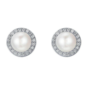 Women's 100% 925 Sterling Silver Round Pearl With Zircon Stud Earring
