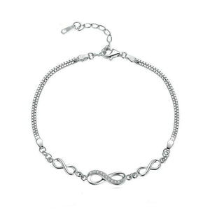 Women's 100% 925 Sterling Silver Infinity Pattern Adjustable Bracelet
