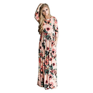 Women's O-Neck Long Sleeve Printed Pocket Ankle-Length Maternity Dress