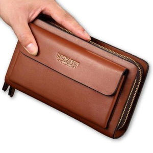 Men's Soft Leather With Double Zipper Hasp Closure Wallets