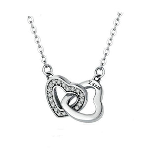 Women's 100% 925 Sterling Silver Connect Heart Couple Zircon Necklace