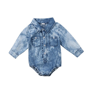 Baby Boy's Turn-down Collar Long Sleeve Button Up Denim Jumpsuit