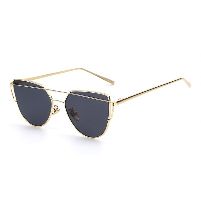 Kid's Cat Eye Light Mirror Lens Thin Alloy Frame Vintage Sunglasses