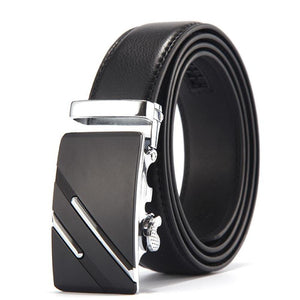 Men's Solid Leather Strap Automatic Linen Pattern Alloy Buckle Belts