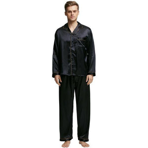 Men's V-Neck Long Sleeve Silk With Ankle Length Pants Outfits