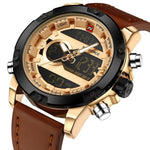 Men's Round Leather Hours and Date Analog Digital Outdoor Watch