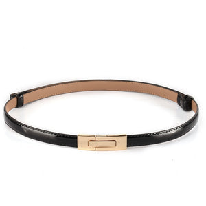 Women's Thin Leather Patchwork Alloy Automatic Buckle Waist Belts