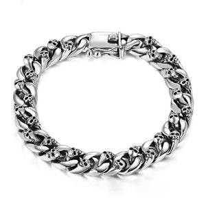 Men's 100% 925 Sterling Silver Round Link Chain Clasp Lock Bracelet