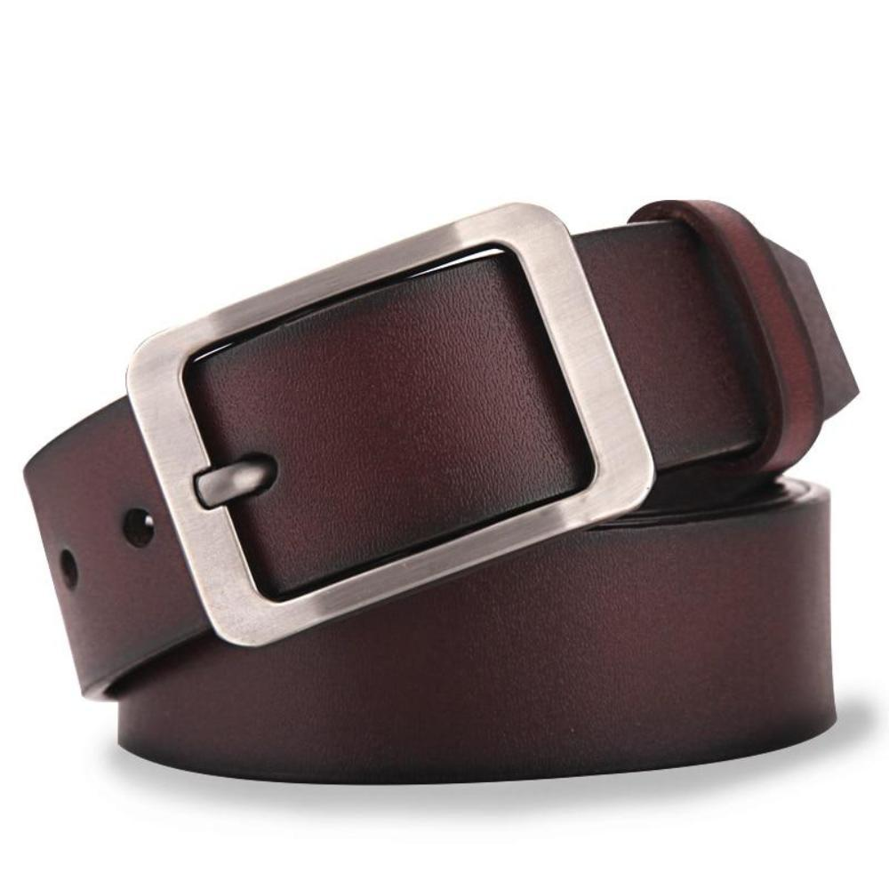 Men's Solid Genuine Leather Plain Waist Strap Alloy Pin Buckle Casual Belts