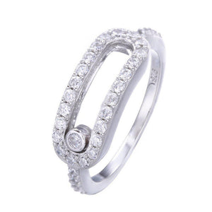 Women's 100% 925 Sterling Silver Moon Shape Cubic Zircon Ring