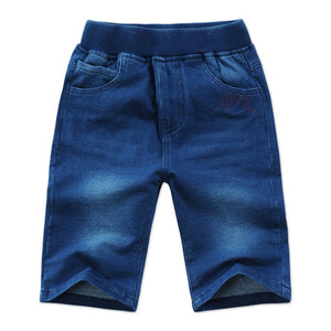 Kid's Low Elastic Waist Plain Side Pocket Denim Slim Shorts