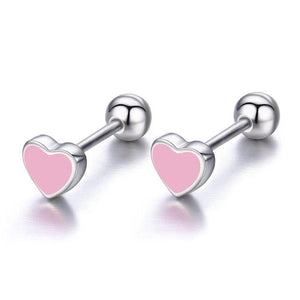 Kid's 100% 925 Sterling Silver Heart Shaped Back Screw Stud Earrings