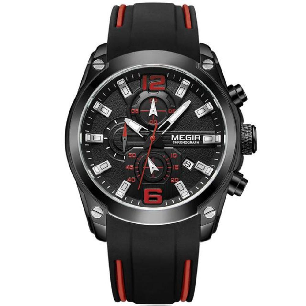 Men's Round Solid Rubber Strap Analog Quartz With Alloy Buckle Watch