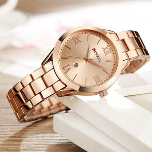 Women's Round Full Steel Linen Patchwork Quartz Hasp Closure Watch