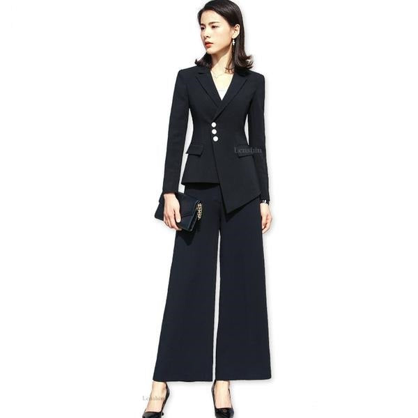 Women's Long Sleeve Single Breasted Blazer With Flare Pant Formal Set