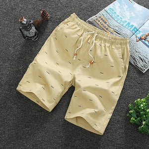 Men's Elastic Drawstring Waist Printed Side Pocket Bermuda Shorts