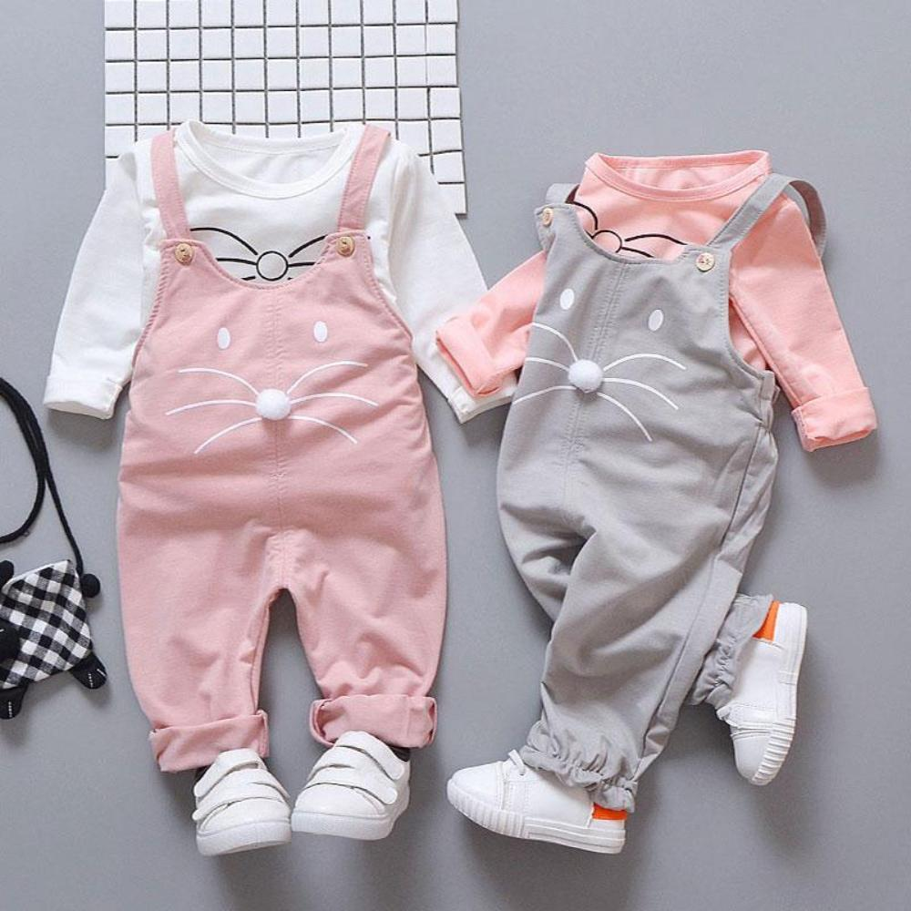Baby Girl's O-Neck Long Sleeve T-Shirt With Jumpsuit Pant Set Outfits